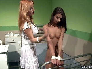 Skinny Young Betty Stylle Gets Dominated By MILF In White