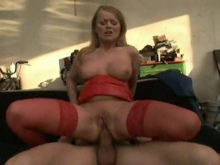 Small Blonde Takes Two Huge Cocks