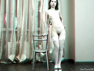 Beautiful Teen Girl Posing Nude - 3d Backstage